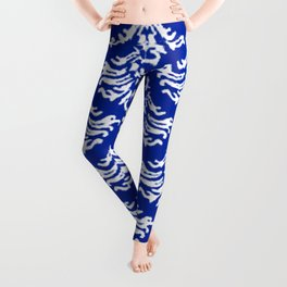 Vintage Damask Brocade Sapphire Blue Leggings