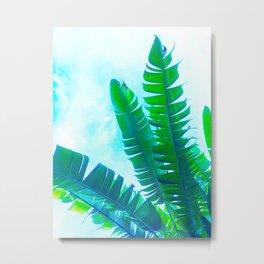 Vibrant Banana Leaves - Tropical Green and blue Metal Print
