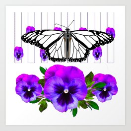 WHITE MONARCH BUTTERFLY & PURPLE PANSIES Art Print