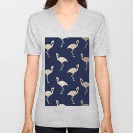 Gold Flamingo Pattern Navy Blue Unisex V-Neck