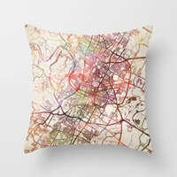 austin Throw Pillows featuring Austin by MapMapMaps.Watercolors