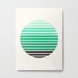 Teal Green Mid Century Modern Minimalist Scandinavian Colorful Stripes Geometric Pattern Round Circl Metal Print