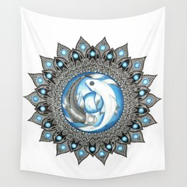 Yin and Yang Butterfly Koi Fish Mandala Wall Tapestry