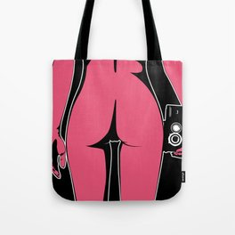 Pop-art girl with camera Tote Bag