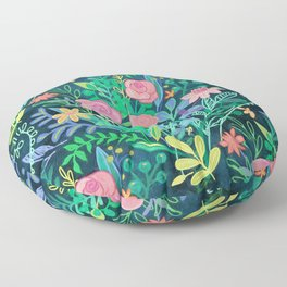 Roses + Green Messy Floral Posie Floor Pillow