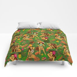 Tiki Temptress on Green Comforters