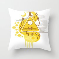 "bill cipher Throw Pillows featuring ""Dreamsphere // Bill"" by Insane-Dorito"