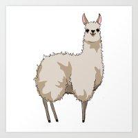 llama Art Prints featuring Llama by Nemki