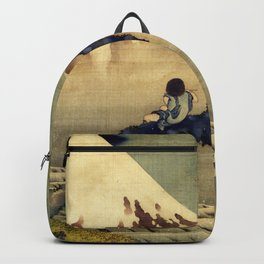 Katsushika Hokusai Boy Viewing Mount Fuji Backpack