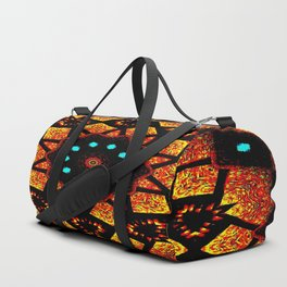 Bright Red Orange Mosaic Kaleidoscope Mandala Duffle Bag