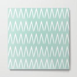 Festive, Geometric, Boho, Line Art Pattern, Mint Green Metal Print
