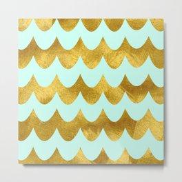 Mint Gold Foil 04 Metal Print