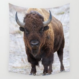 In The Presence Of Bison 2  Wall Tapestry