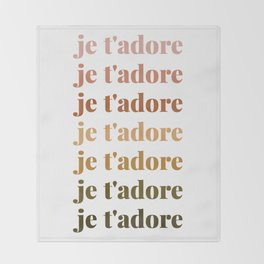 je t'adore in earthy colors Throw Blanket