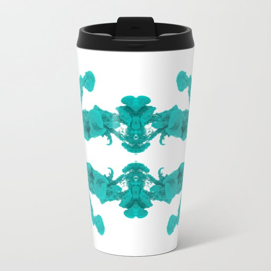 Cyan Ink Drop In Water Metal Travel Mug