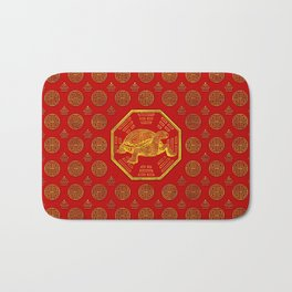 Golden Tortoise / Turtle Feng Shui on red Bath Mat