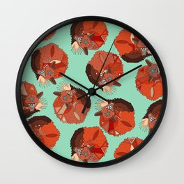 curled fox polka mint Wall Clock