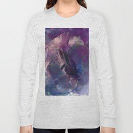 Purple Flower Edited Watercolor Long Sleeve T-shirt