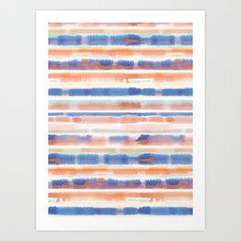 Watercolor Stripes Orange Blue Art Print