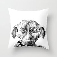 elf Throw Pillows featuring Free Elf by DeMoose_Art
