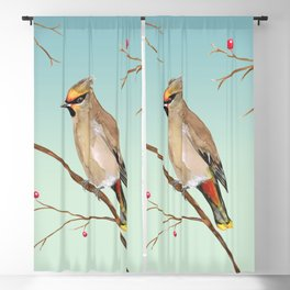 Bohemian waxwing Blackout Curtain