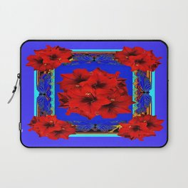 Red Amaryllis Flowers Blue Abstract Laptop Sleeve