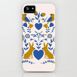 Folk art blue and gold rabbits and birds iPhone Case