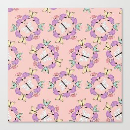 Butterfly Patterns in Pink and Blue and White. Canvas Print