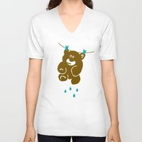 kindle V-neck T-shirts featuring Teddy's Wet by Efon Vee
