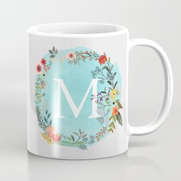 Personalized Monogram Initial Letter M Blue Watercolor Flower Wreath Artwork Coffee Mug
