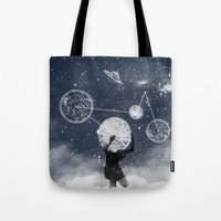 atlas Tote Bags featuring Atlas by Slug Draws