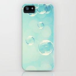 Bubble Photography, Laundry Room Soap Bubbles, Aqua Teal Bathroom Photography iPhone Case