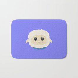 Cute little sheep with blue collar Bath Mat