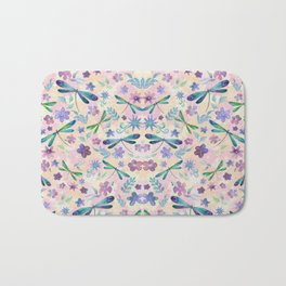 Dragonflies and Flowers Watercolor Pattern Spring Background Bath Mat