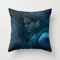 Throw Pillows featuring The Winter Soldier (Bucky Barnes) by thecannibalfactory