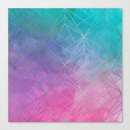 Watercolor Geometric Silver Pattern Art Canvas Print