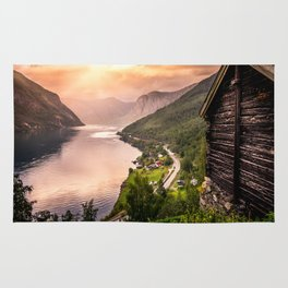Fjord at sunset Rug
