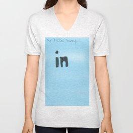 In blue Unisex V-Neck