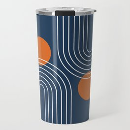 Mid Century Modern Geometric 83 in Navy Blue and Burnt Orange (Rainbow and Sun Abstraction) Travel Mug
