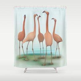 Flamingo Mingle Shower Curtain
