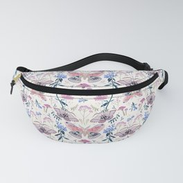 Lilac Butterfly and Flowers Fanny Pack