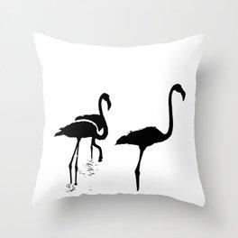 Three Flamingos Black Silhouette Isolated Throw Pillow