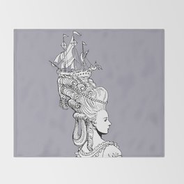 Girl With Ship Throw Blanket