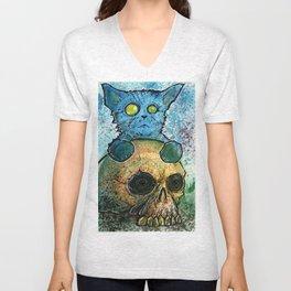 Blue Cat on a Skull Unisex V-Neck