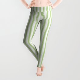 Color of the Year 2017 Greenery and White Mattress Ticking Stripes Leggings