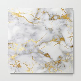 Gray And Gold Girly Marble  Metal Print