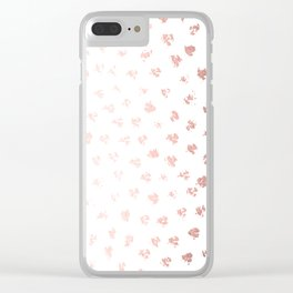Rose Gold Pink Polka Splotch Dots on White Clear iPhone Case