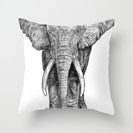 Elephant at the water hole. Throw Pillow