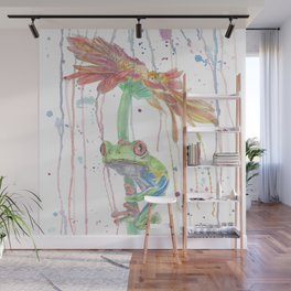 """Watercolor Painting of Picture """"Red Eyed Frog"""" Wall Mural"""