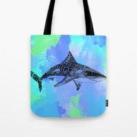 shark Tote Bags featuring Shark by Riaora Creations